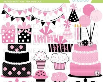 Birthday Party Art - Pink and Black - Clip Art Set Digital Elements for Cards, Stationery and Paper Crafts and Products