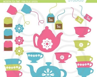 Modern Tea Time Clipart Set - Digital Elements Commercial use for Cards, Stationery and Paper Crafts and Products