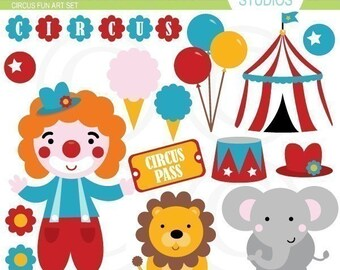 Circus Fun Clip Art Set - Digital Elements Commercial use for Cards, Stationery and Paper Crafts and Products