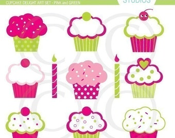 Cupcakes Delight Clip Art Set by Kelly Medina - Pink and Green