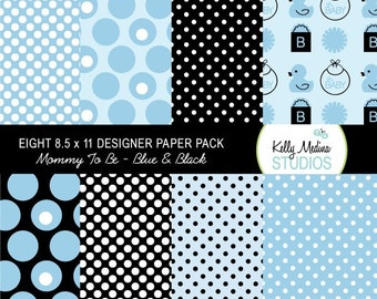 Mommy To Be - Blue and Black - Designer Paper Pack Set Digital Elements for Cards, Stationery and Paper Crafts and Products