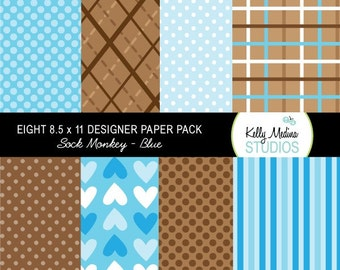 Sock Monkey Blue - Designer Paper Pack Set Digital Elements for Cards, Stationery and Paper Crafts and Products