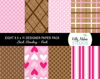 Sock Monkey Pink - Designer Paper Pack Set Digital Elements for Cards, Stationery and Paper Crafts and Products