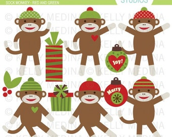 Sock Monkey Christmas - Red and Green Clip Art Set - Digital Elements Commercial use for Cards, Stationery and Paper Crafts and Products