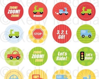 Cars, Trucks, Scooters - 1.5 inch Circle Digital Collage Sheet - Commercial use for Cupcake Toppers, Magnets, Paper Crafts and Products