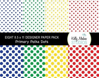 Polka Dots - Primary Colors on White  - Designer Paper Pack Set Digital Elements for Cards, Stationery and Paper Crafts and Products