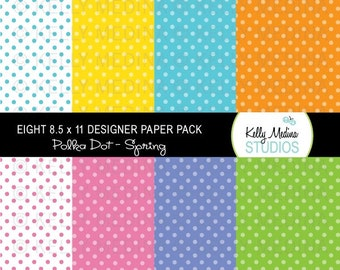 Polka Dot - Spring - Designer Paper Pack Set Digital Elements for Cards, Stationery and Paper Crafts and Products