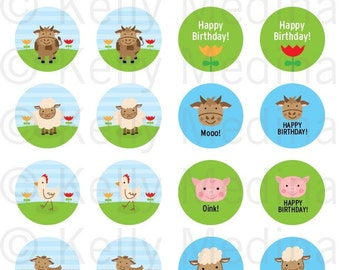 Farm Animal -  1.5 inch Circle Digital Collage Sheet - Commercial use for Cupcake Toppers, Magnets, Paper Crafts and Products