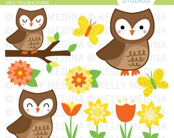 Owls - Orange and Yellow - Clip Art Set - Digital Elements Commercial use for Cards, Stationery and Paper Crafts and Products