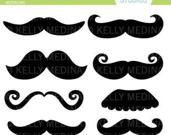 Mustaches - Clip Art Set Digital Elements for Cards, Stationery and Paper Crafts and Products