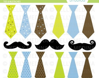 Ties & Mustaches - Clip Art Set Digital Elements for Cards, Stationery and Paper Crafts and Products
