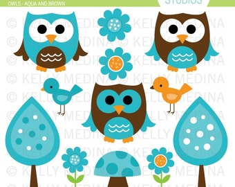Owls - Aqua and Brown - Clip Art Set - Digital Elements Commercial use for Cards, Stationery and Paper Crafts and Products