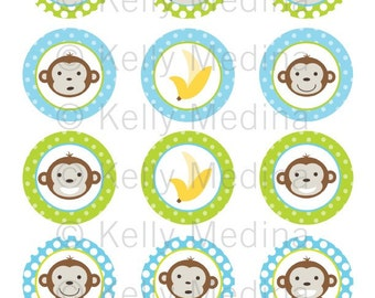 Monkey Boy - 2 inch Circle Digital Collage Sheet - Commercial use for Cupcake Toppers, Magnets, Paper Crafts and Products