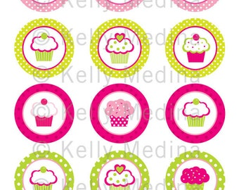 Cupcake - Pink and Green - 2 inch Circle Digital Collage Sheet - Commercial use for Cupcake Toppers, Magnets, Paper Crafts and Products