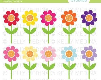 Flowers Variety - Clip Art Set - Digital Elements Commercial use for Cards, Stationery and Paper Crafts and Products