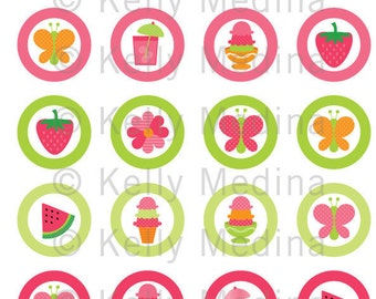 Summer Party - 1.5 inch Circle Digital Collage Sheet - Commercial use for Cupcake Toppers, Magnets, Paper Crafts and Products