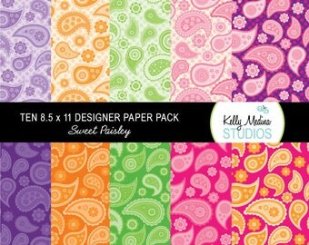 Paisley - Designer Paper Pack - Digital Elements for Cards, Stationery, Backgrounds and Paper Crafts and Products