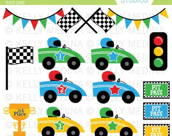Race Cars - Clip Art - Digital Elements Commercial use for Cards, Stationery and Paper Crafts and Products