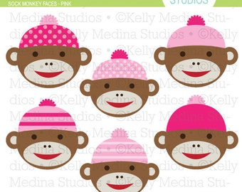 Sock Monkey Faces - Pink - Clip Art Set - Digital Elements Commercial use for Cards, Stationery and Paper Crafts and Products