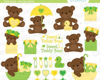 Teddy Bears - Yellow & Green - Clip Art - Digital Elements Commercial use for Cards, Stationery and Paper Crafts and Products