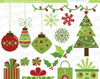 Christmas Decorations - Red and Green Clip Art Set - Digital Elements Commercial use for Cards, Stationery and Paper Crafts and Products