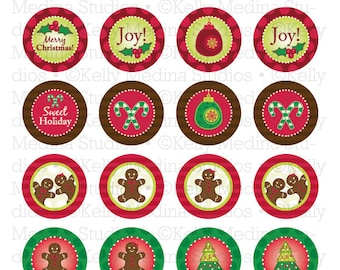 Christmas Gingerbread - 1.5 inch Circle Digital Collage Sheet - Commercial use for Cupcake Toppers, Magnets, Paper Crafts and Products