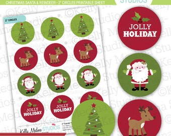 Christmas Santa and Reindeer - 2 inch Circle Digital Sheet - Commercial use for Cupcake Toppers, Magnets, Paper Crafts and Products