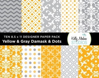 002A Yellow and Gray  - Designer Paper Pack - Digital Elements for Cards, Stationery, Backgrounds and Paper Crafts and Products