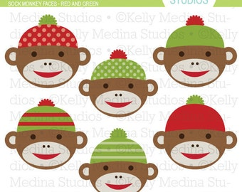 Sock Monkey Faces - Red and Green Clip Art Set - Digital Elements Commercial use for Cards, Stationery and Paper Crafts and Products