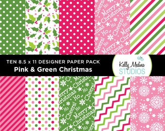 004A Pink and Green Christmas - Designer Paper Pack - Digital Elements for Cards, Stationery, Backgrounds, Paper Crafts and Products