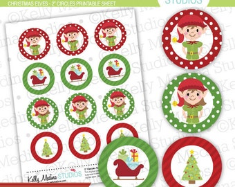 "Christmas Elves - 2"" Circle Digital Collage Sheet - Commercial use for Cards, Stationery and Paper Crafts and Products"