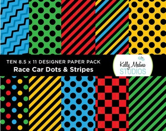 Race Car Dots and Stripes - Designer Paper Pack - Digital Elements for Cards, Stationery, Backgrounds, Paper Crafts and Products