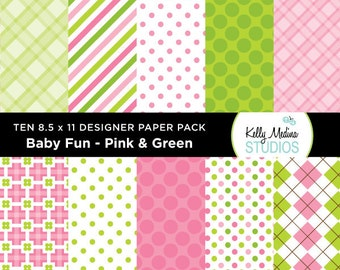005B Baby Fun Pink and Green - Designer Paper Pack - Digital Elements for Cards, Stationery, Backgrounds, Paper Crafts and Products