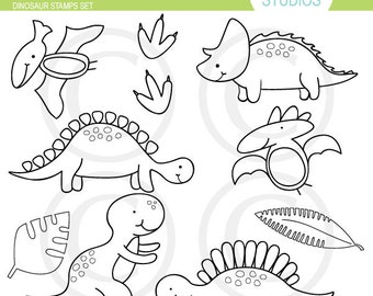 Dinosaur - Digital Stamps, Elements Commercial use for Cards, Stationery and Paper Crafts and Products by Kelly Medina