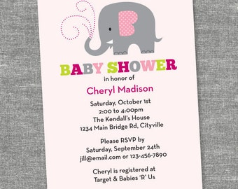 Custom Elephant Baby Shower - Pink - Printable Digital Invitation - Personal Use Only