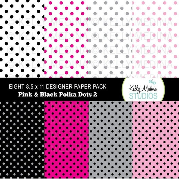Polka Dots - Black on Pink and Black Solid  - Designer DIGITAL Paper Pack Set Digital for Cards, Stationery and Paper Crafts and Products