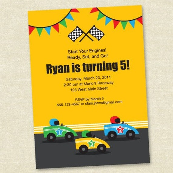 Race Car Birthday - Yellow - Printable Digital Invitation - Personal Use Only