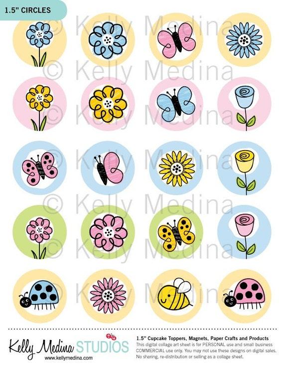 Doodling Spring Flowers 1.5 inch Circle by Kellymedinastudios