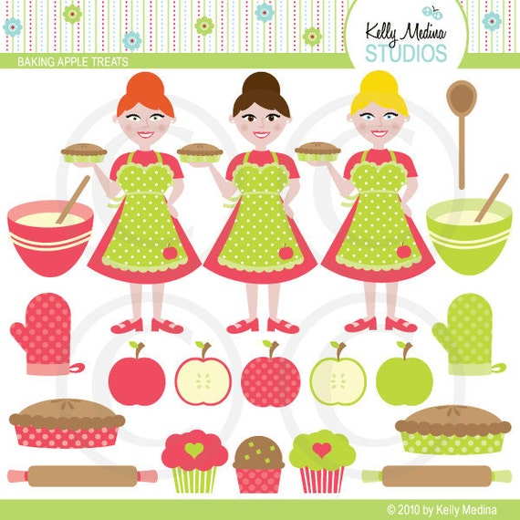 Baking Apple Treats - Pie, Muffins and Cupcakes- Clip Art Set Digital Elements for Cards, Stationery and Paper Crafts and Products