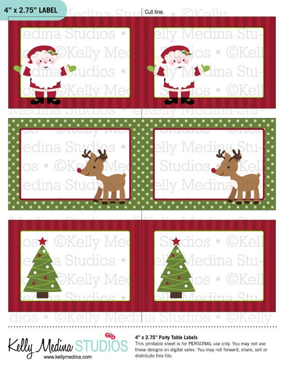 Items Similar To Christmas Santa And Reindeer Printable