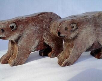 Wooden Noahs Ark Animals Brown Bear Pair