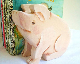 Piglet Bookends Hand Painted Wood Non Toxic
