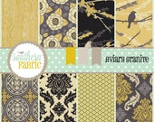Aviary 2 by Joel Dewberry- 16 - 10  INCH Quilting Fabric Layer Cake - Vintage Yellow Palette