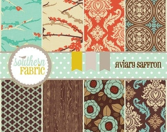 Aviary 2 by Joel Dewberry-32- 5 INCH Quilting Fabric Charm Pack Squares- Saffron Palette