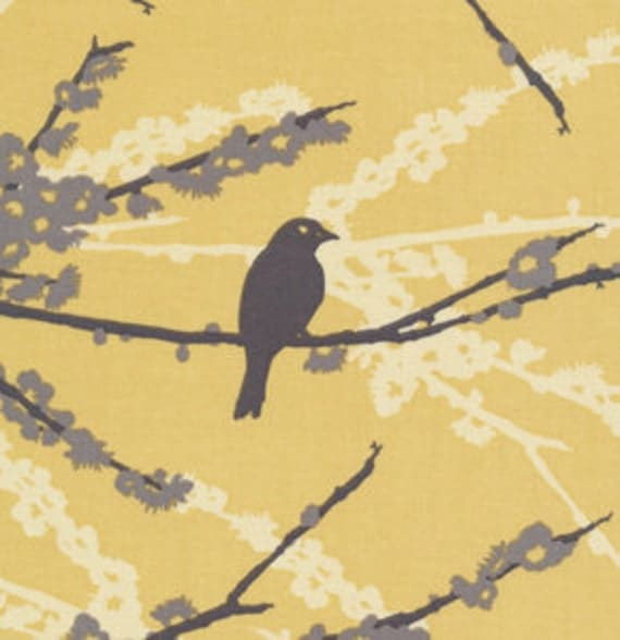 Aviary 2- Sparrows Vintage Yellow JD41- 1/2 yard - Joel Dewberry for Free Spirit bty