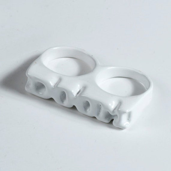 40% off RTS last in stock DOOM White Two Finger Ring