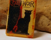Pin, Brooch, Vintage Jewelry, Mahjong Tile,  Chat Noir, Repurposed, Black Cat Pin