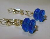 Blue Earrings - Blue Glass Rounds, Dangle, Azure, Bleu, Glass, Bohemian, Hippie, Modern