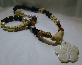 Eco-friendly,Bohemian,  Beaded Necklace in Browns and Cream