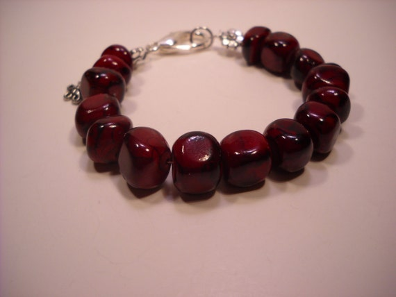 Beaded Bracelet, Red Jade, Silver Accents, Deep Red Color, Fits Average Wrist, Flower Dangle